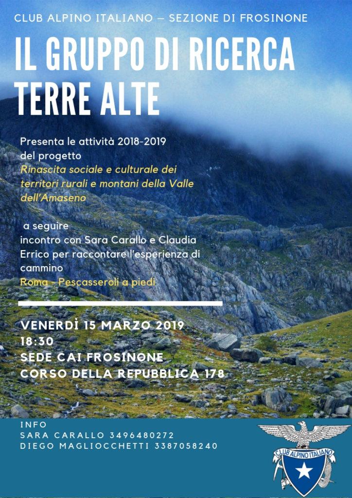 Presentazione progetto Terre Alte - CAI Frosinone 2019 @ Sede CAI Frosinone | Frosinone | Lazio | Italia